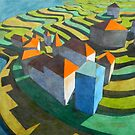 virtual model with blue house  (original sold) by federico cortese