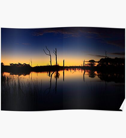 Sunset at Farm Dam at small Township of Forest  Poster