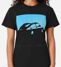 Camiseta clásica Saab 900, 1990 - Azul claro sobre carbón