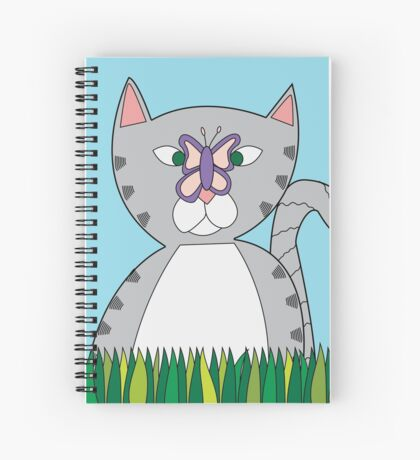 Tabby Cat and Butterfly Spiral Notebook