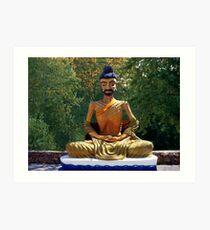 இڿڰۣ 韩国人物图片素材_韩国 STATUE OF MONK MEDITATION THAILAND  இڿڰۣ  Art Print