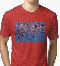 Pretty in Pink - a Flowering Cherry Tree and Blue Spring Sky Tri-blend T-Shirt