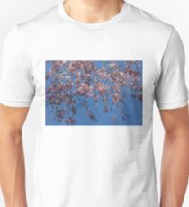 Pretty in Pink - a Flowering Cherry Tree and Blue Spring Sky Unisex T-Shirt