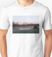 Pink Pond - A Peaceful Daybreak On The Farm T-Shirt