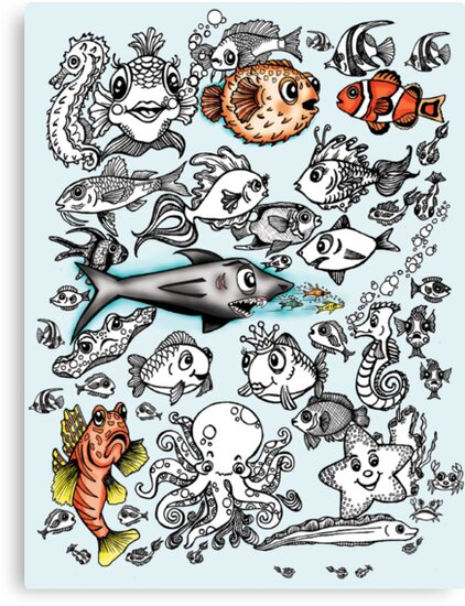 Cartoon Fishies  by Ameda Nowlin