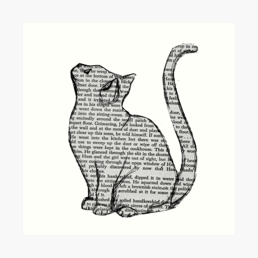 books and cats and books and cats Art Print