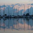 Pink and Blue Peace - Still Sailboat Reflections  by Georgia Mizuleva