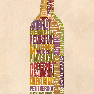 Bordeaux Wine Word Bottle by mitchfrey