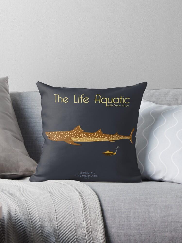 """the life aquatic - jaguar shark"""" throw pillowskodi sershon"""