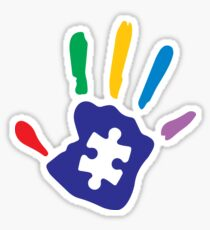 Colorful Autism Hand Sticker