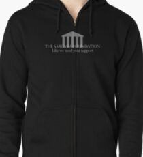 The Sarcasm Foundation - White Zipped Hoodie