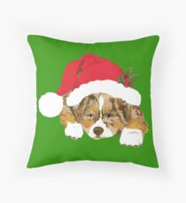 Red Merle Christmas Puppy in a Santa Hat Throw Pillow