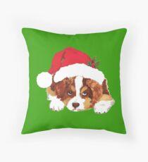Red Tri Aussie Puppy in a Santa Hat Throw Pillow