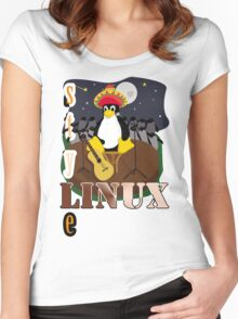 Funny night TUX (linux) Women's Fitted Scoop T-Shirt