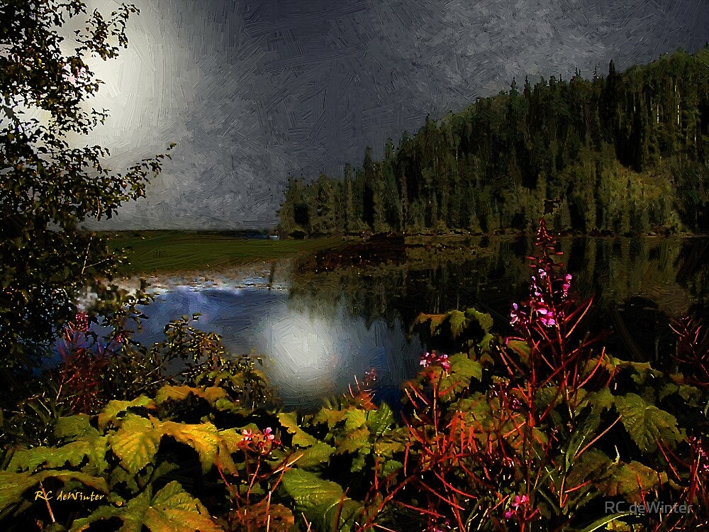 Late One Night at Chapman Lake by RC deWinter
