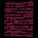Printed sheet music, neon pink on white (Beethoven) by cesarpadilla