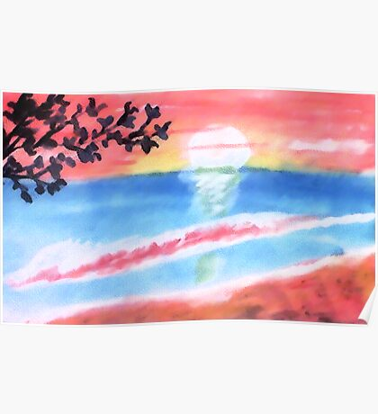 Sunset on the waves and beach, watercolor Poster