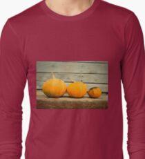 Pumpkins on a wooden background T-Shirt