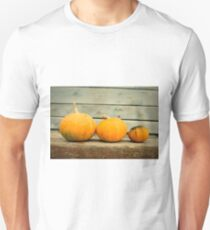 Pumpkins on a wooden background T-Shirt