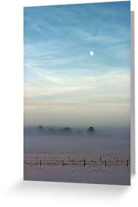 Snow, mist and moon by John Dunbar