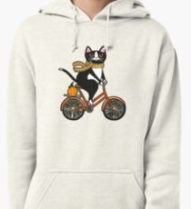 Cat on a Bicycle  Pullover Hoodie