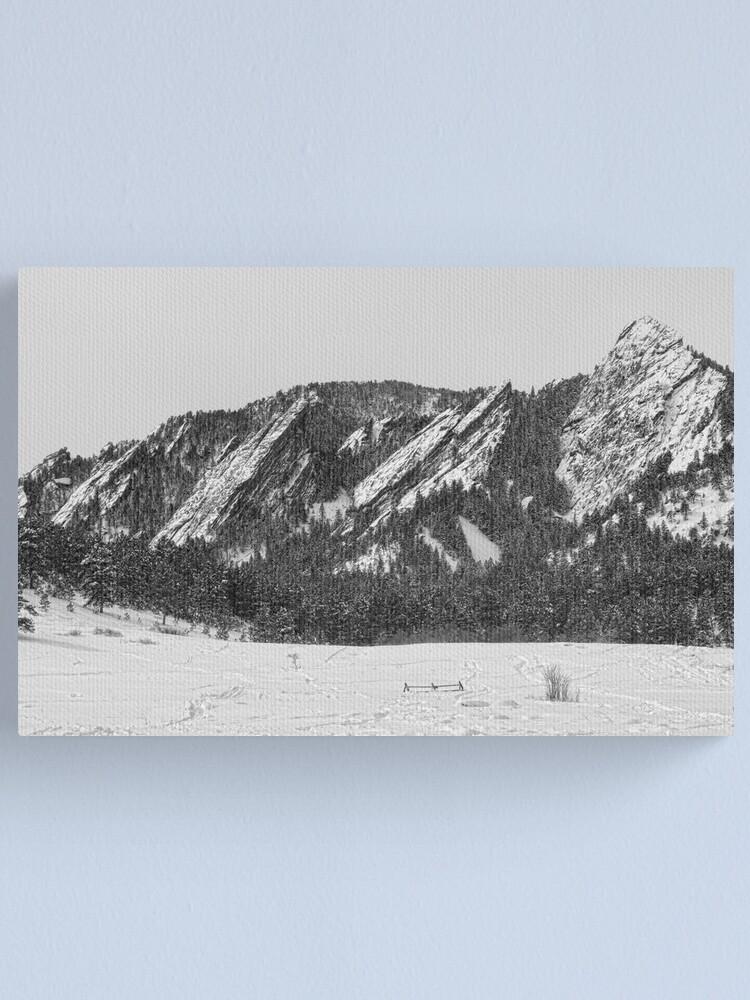 Alternate view of Boulder Colorado Flatirons With Snow BW Canvas Print