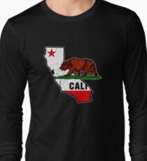 California Bear Flag (Distressed Vintage-Design) Langarmshirt