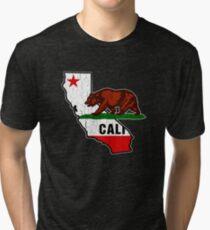 California Bear Flag (Distressed Vintage Design) Tri-blend T-Shirt