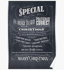 Politically Correct or Incorrect Black Chalkboard Typographic Christmas Card - We Poster