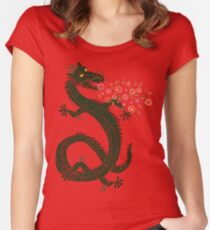 Drache, Blumenatmung Tailliertes Rundhals-Shirt