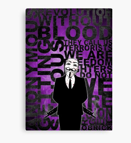 Anonymous revolution without blood ? Purple Canvas Print