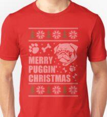 Fröhliches Puggin Weihnachtshässliches Strickjacke-Mops-Hemd Slim Fit T-Shirt