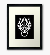 Cloud Strife's Wolf Emblem (White) Framed Print