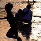 silhouette beach scene Jimbaran by Michael Brewer