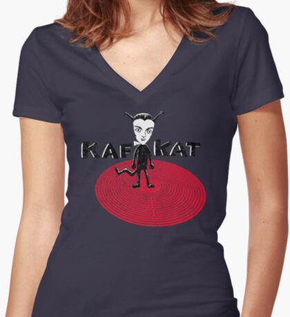 Kafka Cat Metamorphosis Women's Fitted V-Neck T-Shirt