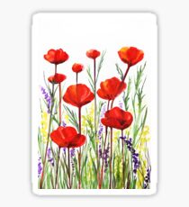 Poppies and Lavender  Sticker