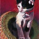 """Original PASTEL Painting Drawing """"Cat out of the Hat"""" by Magaly Burton by Magaly Burton"""