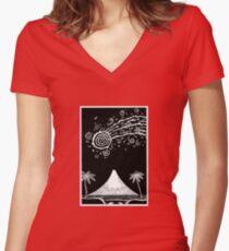 Comet over Taranaki Women's Fitted V-Neck T-Shirt