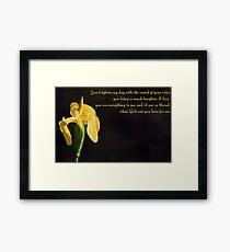 Yellow Iris & Poem Framed Print