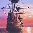 Tall ship at sunset by Dan Wilcox