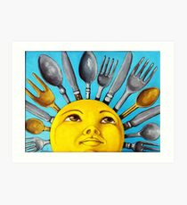 What's for Lunch? CBS Sunday Morning Show Sun Art oil painting Art Print
