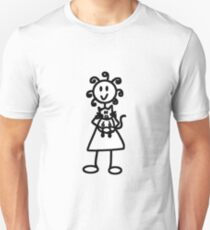 The Girl with the Curly Hair Holding Cat - White Unisex T-Shirt