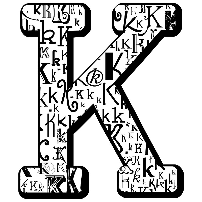 """The Letter K, white background"" Posters by Julie Hartman ..."