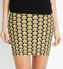 Crying With Laughter Emoji Black Background Mini Skirt