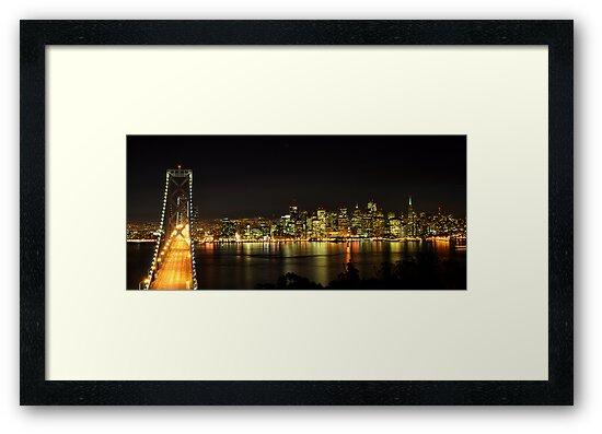 San Francisco and the Bay Bridge @ Nite by Bob Moore
