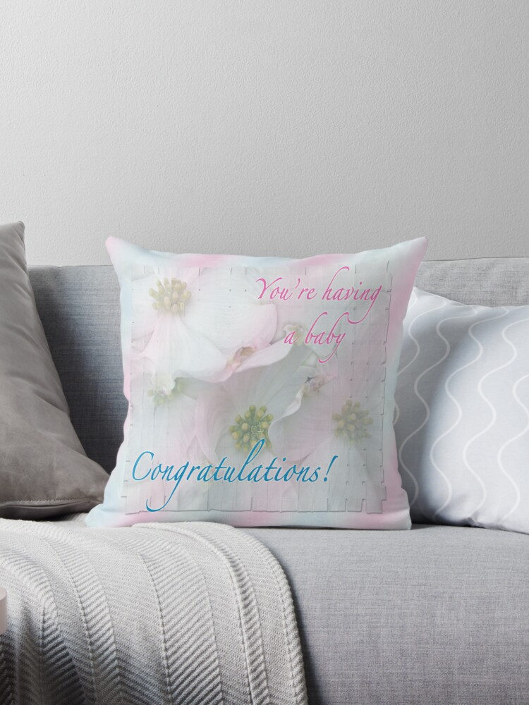 Expecting Baby Congratulations Card Throw Pillows By Mothernature