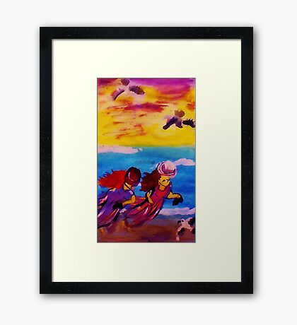Sea gulls on the chase,watercolor Framed Print