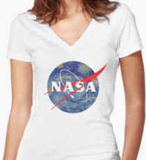 NASA starry night Women's Fitted V-Neck T-Shirt