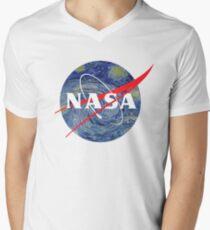 Sternennacht der NASA T-Shirt mit V-Ausschnitt