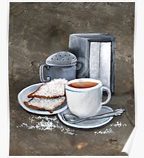 Cafe au lait and Beignets Poster